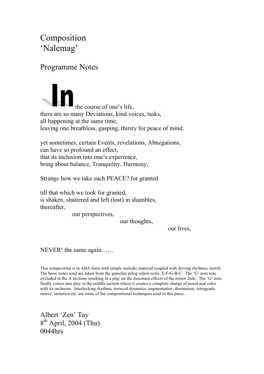 Nalemag Programme Notes